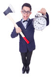 Funny man with axe and clock Stock Image