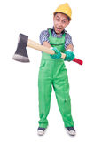 Funny man with axe Royalty Free Stock Photo