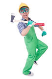 Funny man with axe Royalty Free Stock Image