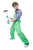 Funny man with axe Stock Photo