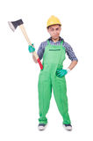 Funny man with axe isolated Stock Photo