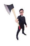 Funny man with axe Royalty Free Stock Photos
