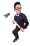Funny man with axe Royalty Free Stock Images