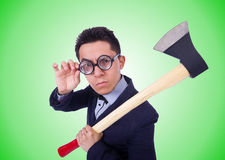 Funny man with axe on white Stock Images