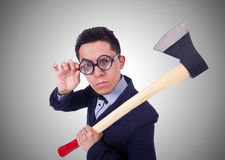 The funny man with axe on white Royalty Free Stock Photography