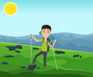 Funny man with a backpack goes hiking. And waves his hand. Theme of hiking, walking, trekking, climbing. Vector illustration Stock Photos