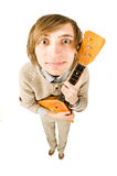 Funny man with balalaika Stock Photography