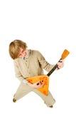 Funny man with balalaika. Fisheye lens Royalty Free Stock Photo