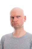 Funny man with bald head  is refacting Royalty Free Stock Photos