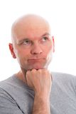 Funny man with bald head  is refacting Stock Image