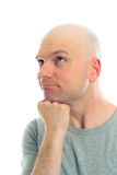 Funny man with bald head  is refacting Stock Images