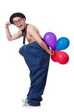 Funny man with balloons Stock Photo