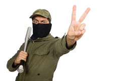 The funny man with baseball bat isolated on white Stock Photography