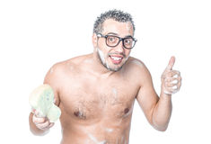 Funny man bathing Stock Photography