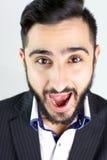 Funny man with beard screaming Royalty Free Stock Photos