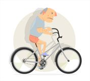 Funny man on a Bicycle. Cartoon character  comic style Royalty Free Stock Photo