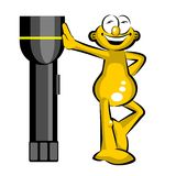 Funny Man and Big Lantern Stock Images