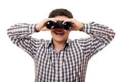 Funny man with binocular. Stock Photo