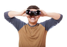 Funny man with binocular. On white background. Stock Photos