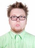 Funny man in black glasses Stock Photo