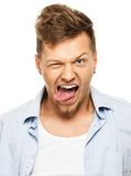 Funny man in blue shirt Stock Photography