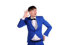 Funny man in blue suite Royalty Free Stock Images
