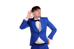 Funny man in blue suite Stock Photography