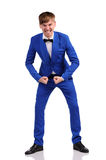 Funny man in blue suite Royalty Free Stock Photography