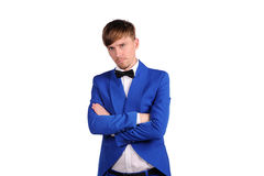 Funny man in blue suite Stock Photo