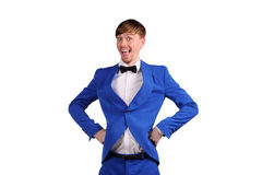 Funny man in blue suite Stock Image