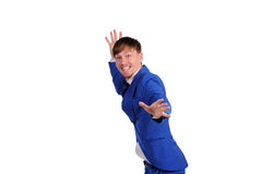 Funny man in blue suite Stock Photos