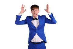 Funny man in blue suite on white background Royalty Free Stock Photography