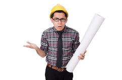 Funny man with blueprints Stock Image