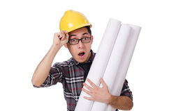 Funny man with blueprints Royalty Free Stock Photos