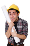 Funny man with blueprints Royalty Free Stock Images