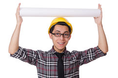 Funny man with blueprints Royalty Free Stock Photo