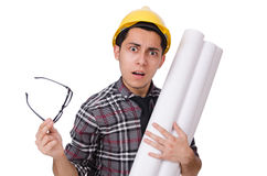 Funny man with blueprints Stock Photos