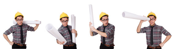 The funny man with blueprints on white Royalty Free Stock Photos
