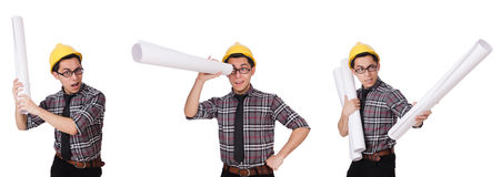 The funny man with blueprints on white Stock Images