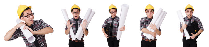 The funny man with blueprints on white Royalty Free Stock Image