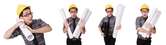 The funny man with blueprints on white Stock Photography