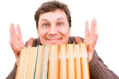 Funny man with books Royalty Free Stock Photography
