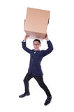 Funny man with box Royalty Free Stock Photos