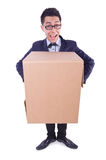 Funny man with box Royalty Free Stock Images