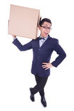 Funny man with box Royalty Free Stock Photo