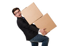 Funny man with boxes Stock Image