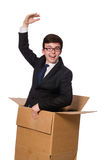 Funny man with boxes Royalty Free Stock Photos