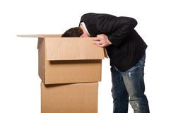 Funny man with boxes Royalty Free Stock Image