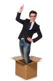 Funny man with boxes. Isolated on white Royalty Free Stock Images