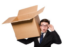 Funny man with boxes Stock Photo